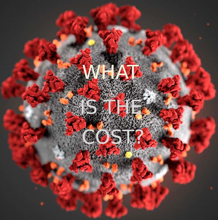 Image of COVID 19 virus asks question, What Is The Cost?
